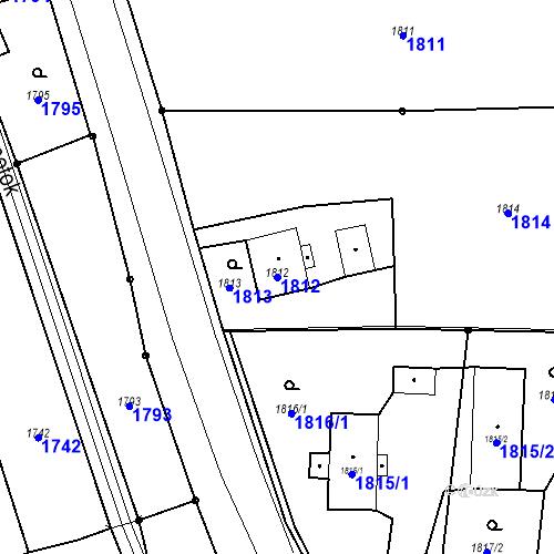 Katastrální mapa Parcela 1812 na katastrálním území Skřečoň