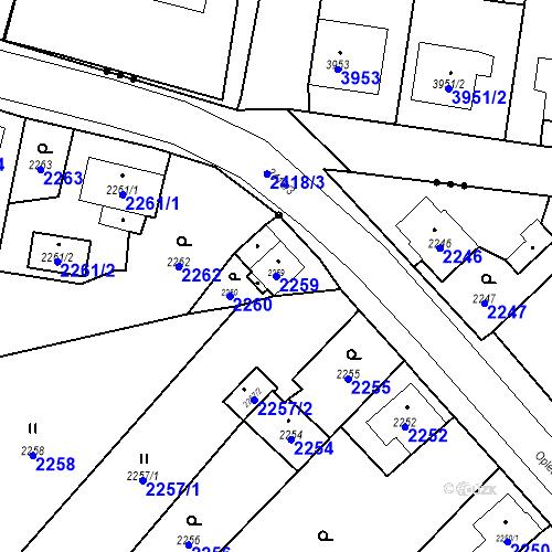 Katastrální mapa Parcela 2259 na katastrálním území Skřečoň