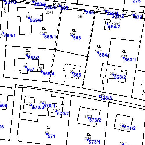 Katastrální mapa Parcela 565 na katastrálním území Skřečoň