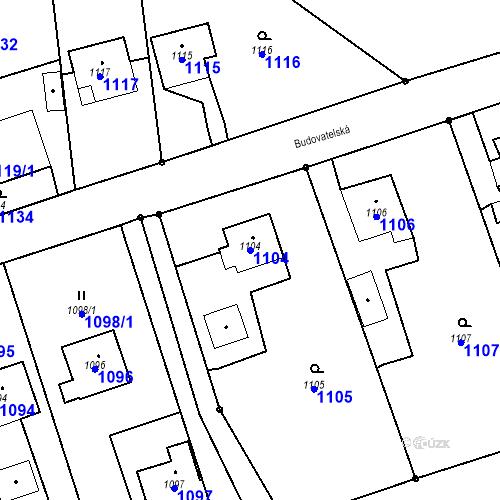 Katastrální mapa Parcela 1104 na katastrálním území Záblatí u Bohumína