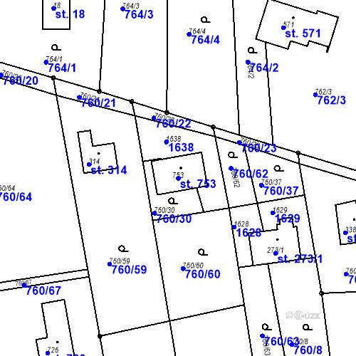 Katastrální mapa Parcela 753 na katastrálním území Sedliště ve Slezsku