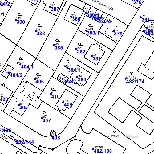 Katastrální mapa Parcela 383 na katastrálním území Frýdek