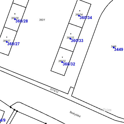 Katastrální mapa Parcela 360/32 na katastrálním území Místek