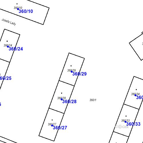 Katastrální mapa Parcela 360/29 na katastrálním území Místek