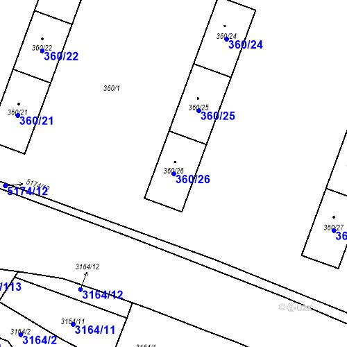 Katastrální mapa Parcela 360/26 na katastrálním území Místek