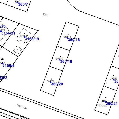 Katastrální mapa Parcela 360/19 na katastrálním území Místek
