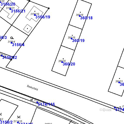 Katastrální mapa Parcela 360/20 na katastrálním území Místek