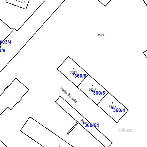 Katastrální mapa Parcela 360/6 na katastrálním území Místek