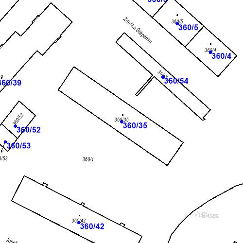 Katastrální mapa Parcela 360/35 na katastrálním území Místek
