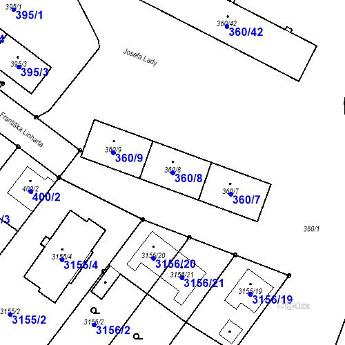 Katastrální mapa Parcela 360/8 na katastrálním území Místek