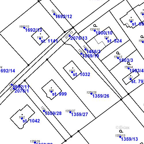 Katastrální mapa Parcela 1032 na katastrálním území Metylovice