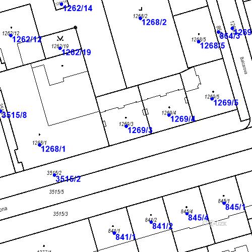 Katastrální mapa Parcela 1269/3 na katastrálním území Moravská Ostrava