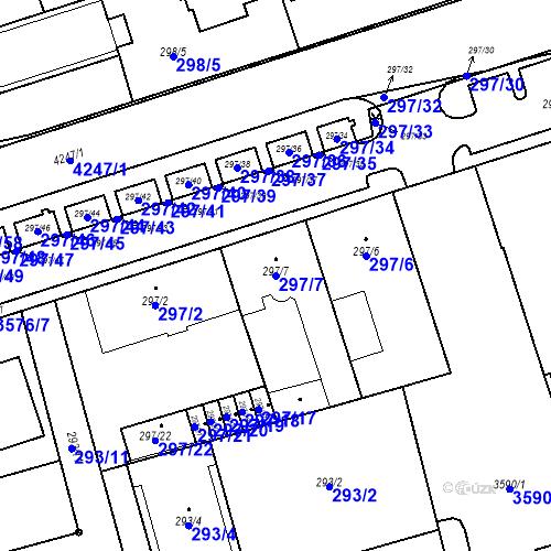 Katastrální mapa Parcela 297/7 na katastrálním území Moravská Ostrava