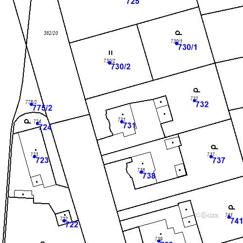 Katastrální mapa Parcela 731 na katastrálním území Kunčice nad Ostravicí