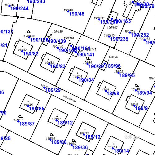 Katastrální mapa Parcela 190/84 na katastrálním území Vítkovice