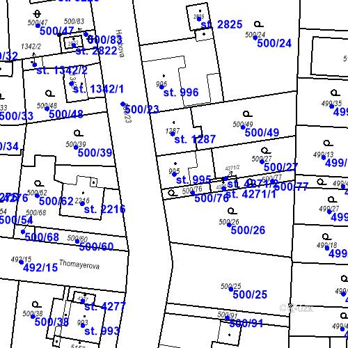 Katastrální mapa Parcela 995 na katastrálním území Zábřeh-VŽ