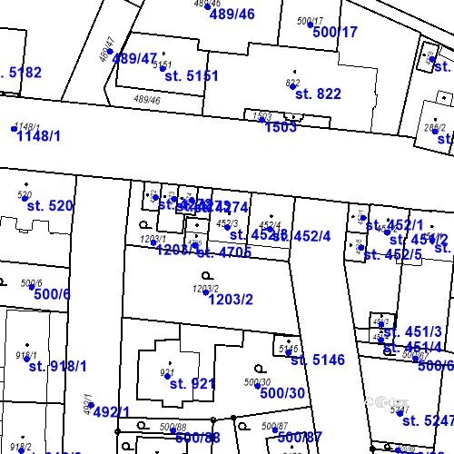 Katastrální mapa Parcela 452/3 na katastrálním území Zábřeh-VŽ