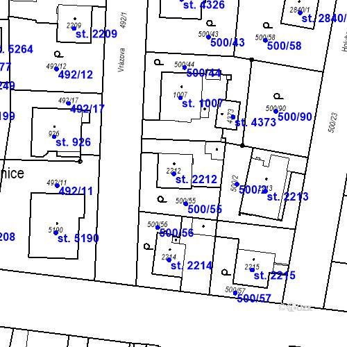 Katastrální mapa Parcela 2212 na katastrálním území Zábřeh-VŽ