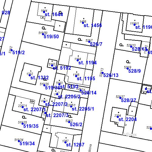 Katastrální mapa Parcela 1195 na katastrálním území Zábřeh-VŽ