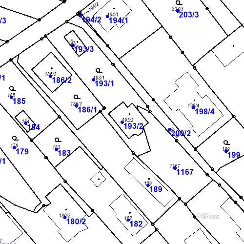 Katastrální mapa Parcela 193/2 na katastrálním území Darkovičky