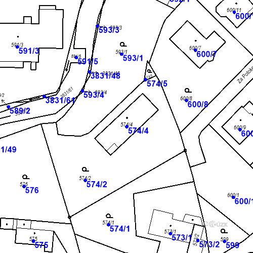 Katastrální mapa Parcela 574/4 na katastrálním území Stará Bělá