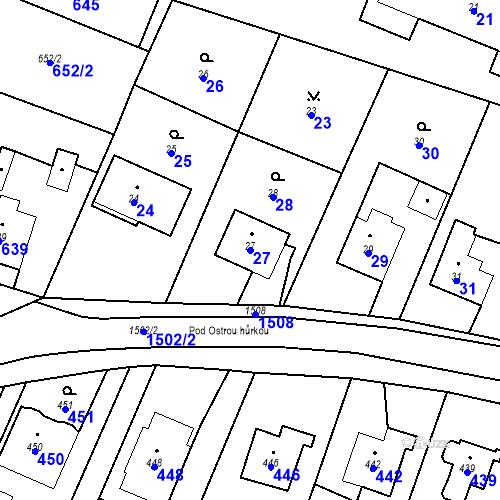 Katastrální mapa Parcela 27 na katastrálním území Chabičov ve Slezsku