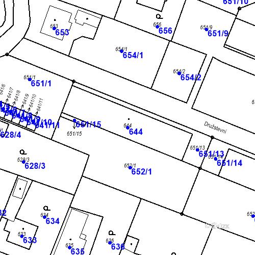 Katastrální mapa Parcela 644 na katastrálním území Chabičov ve Slezsku