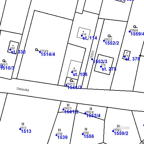 Katastrální mapa Parcela 106 na katastrálním území Budišovice