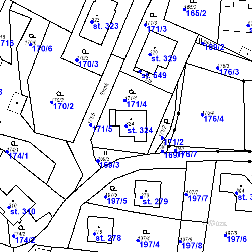 Katastrální mapa Parcela 324 na katastrálním území Budišovice