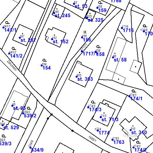 Katastrální mapa Parcela 303 na katastrálním území Budišovice