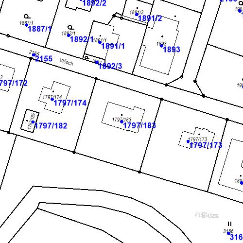 Katastrální mapa Parcela 1797/183 na katastrálním území Štěpánkovice
