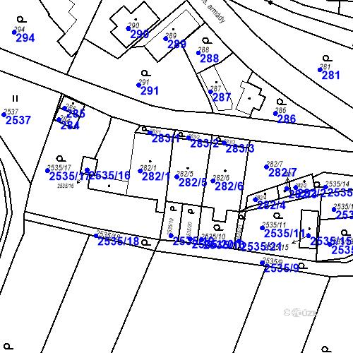 Katastrální mapa Parcela 282/5 na katastrálním území Bílovec-město