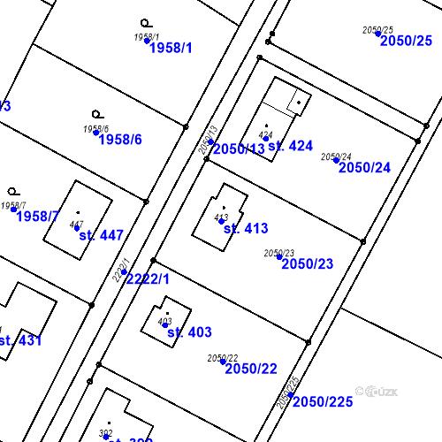 Katastrální mapa Parcela 413 na katastrálním území Tísek