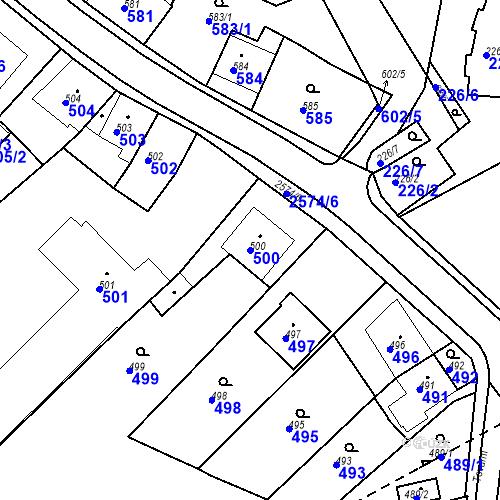 Katastrální mapa Parcela 500 na katastrálním území Bílovec-město