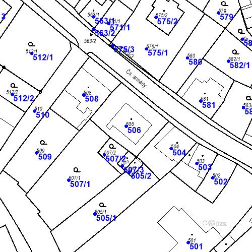 Katastrální mapa Parcela 506 na katastrálním území Bílovec-město