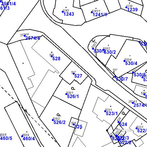 Katastrální mapa Parcela 527 na katastrálním území Bílovec-město