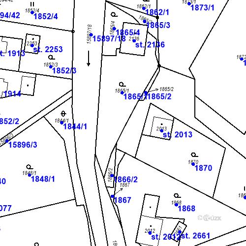 Katastrální mapa Parcela 1869/2 na katastrálním území Hovězí