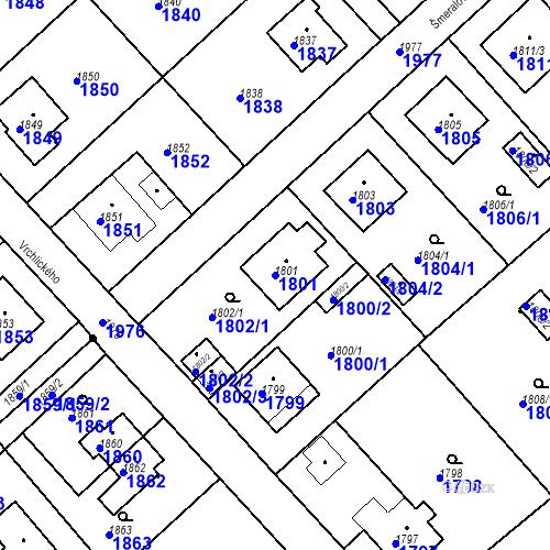 Katastrální mapa Parcela 1801 na katastrálním území Bílovec-město
