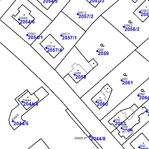 Katastrální mapa Parcela 2058 na katastrálním území Bílovec-město
