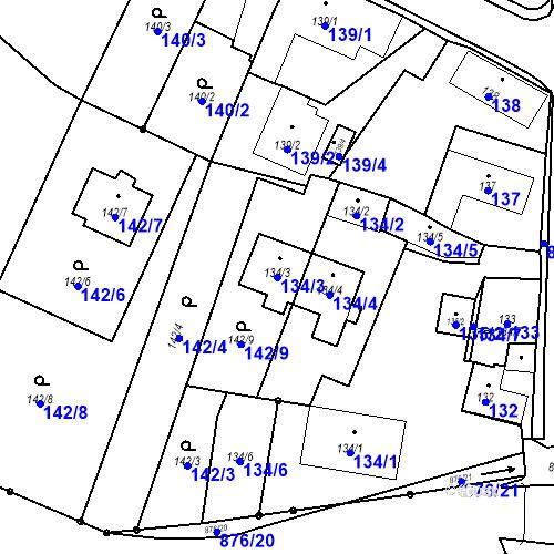 Katastrální mapa Parcela 134/3 na katastrálním území Otice