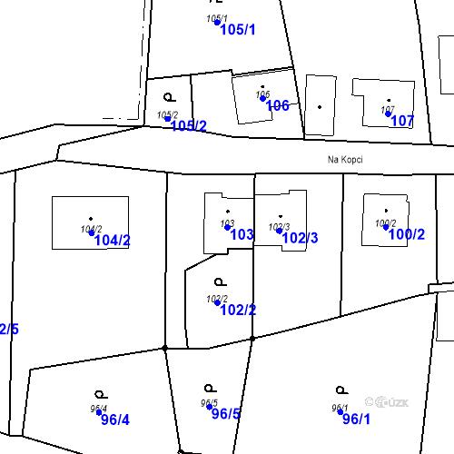 Katastrální mapa Parcela 103 na katastrálním území Otice