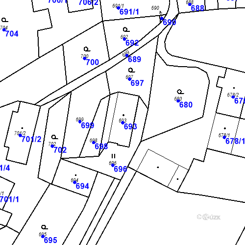 Katastrální mapa Parcela 693 na katastrálním území Dolní Životice