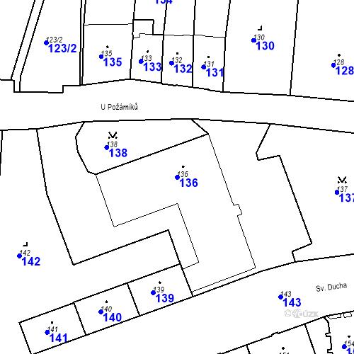 Katastrální mapa Parcela 136 na katastrálním území Krnov-Horní Předměstí