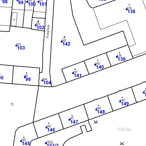 Katastrální mapa Parcela 141 na katastrálním území Krnov-Horní Předměstí