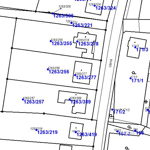 Katastrální mapa Parcela 1263/277 na katastrálním území Hvozdná
