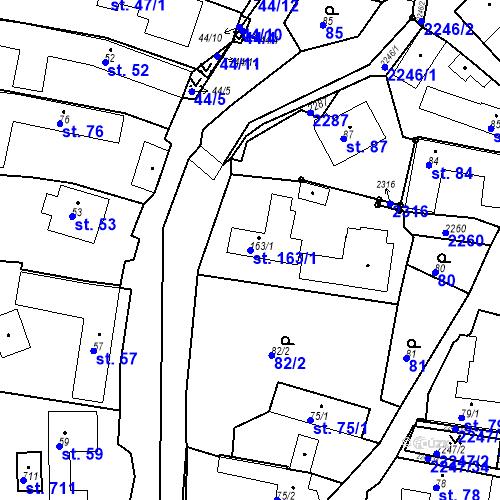 Katastrální mapa Parcela 163/1 na katastrálním území Pozlovice
