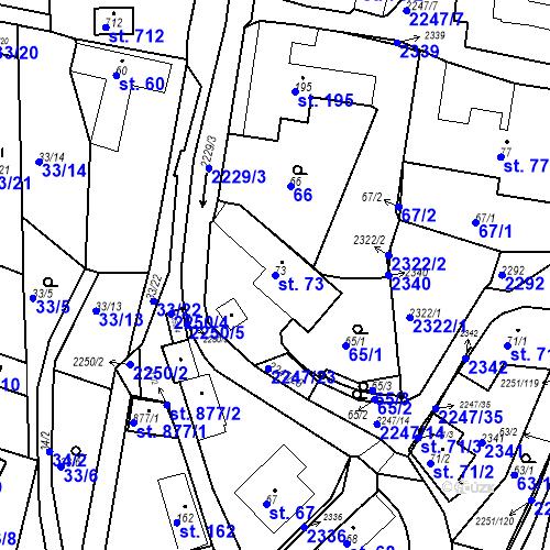 Katastrální mapa Parcela 73 na katastrálním území Pozlovice