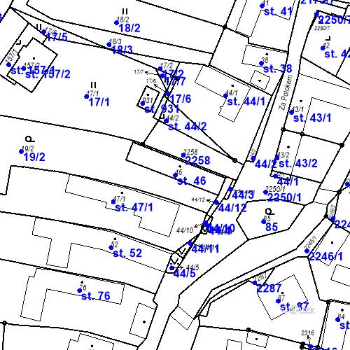 Katastrální mapa Parcela 46 na katastrálním území Pozlovice