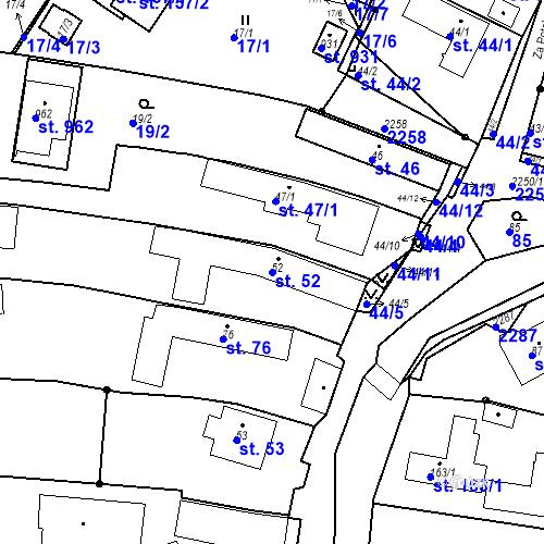 Katastrální mapa Parcela 52 na katastrálním území Pozlovice