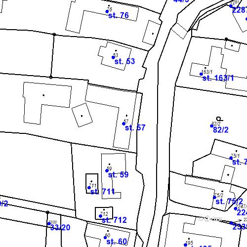 Katastrální mapa Parcela 57 na katastrálním území Pozlovice